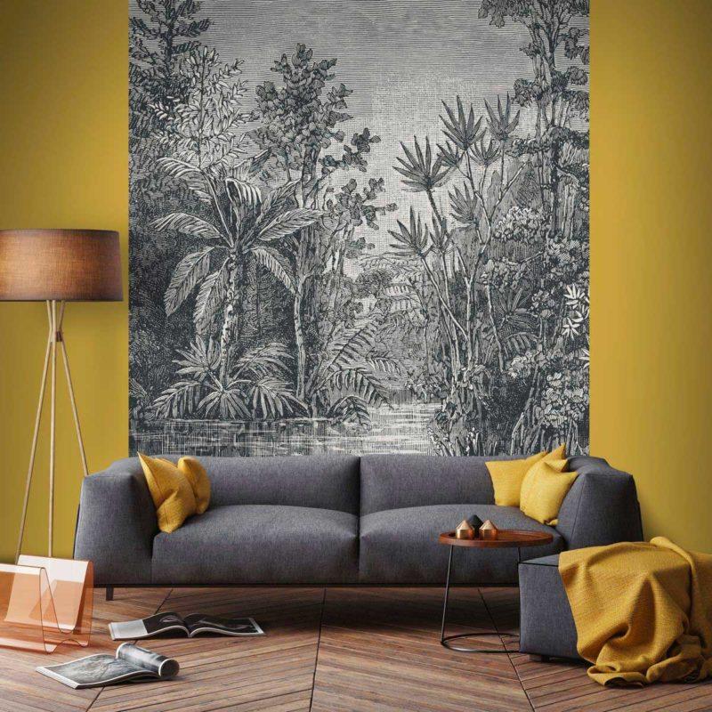 Mur avec jungle tropicale panoramique noir et blanc