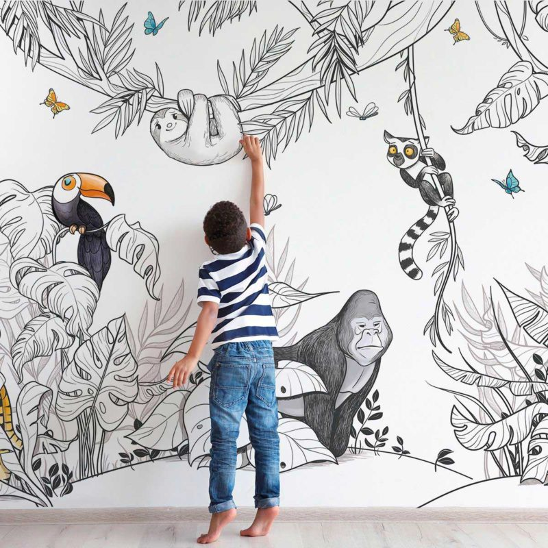 Papier peint intissé avec végétation et animaux