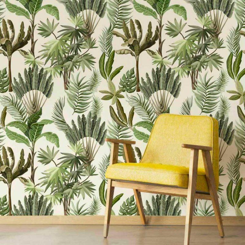 Papier peint jungle à motifs vert