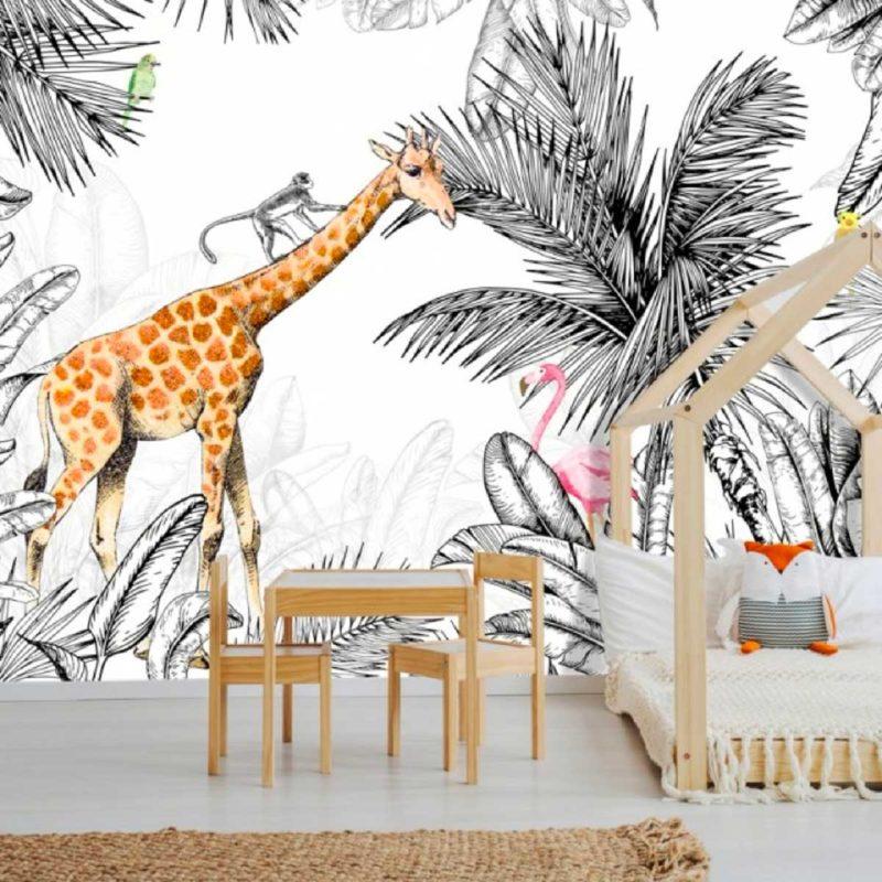 Papier peint jungle avec animaux