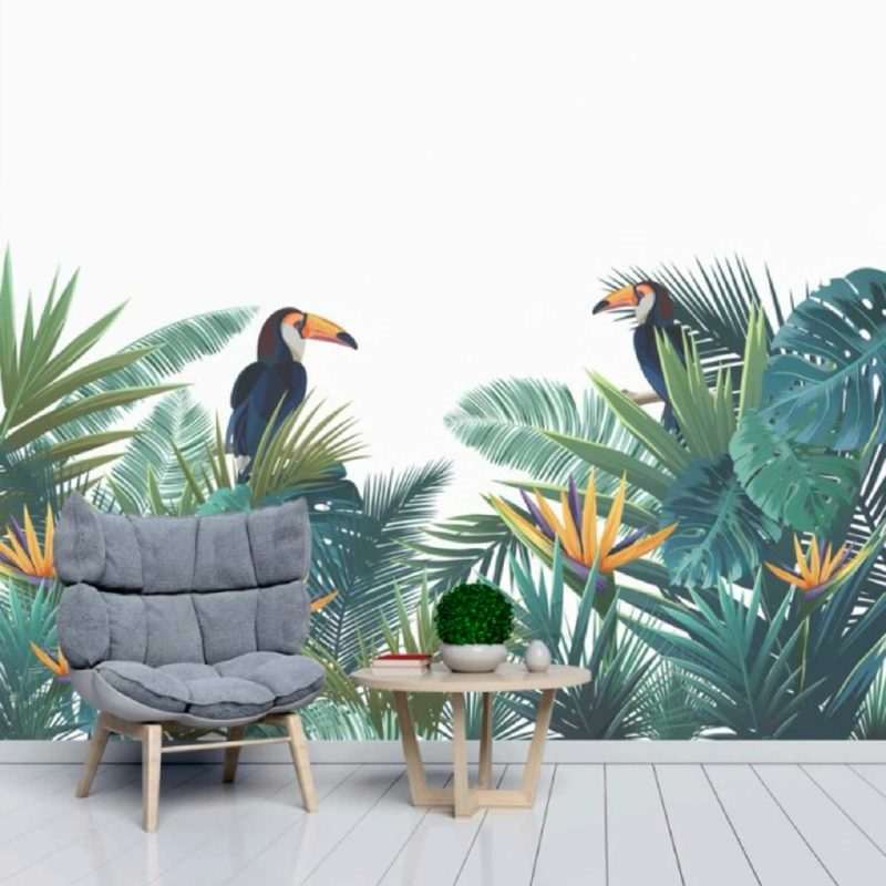 Papier peint jungle avec toucans