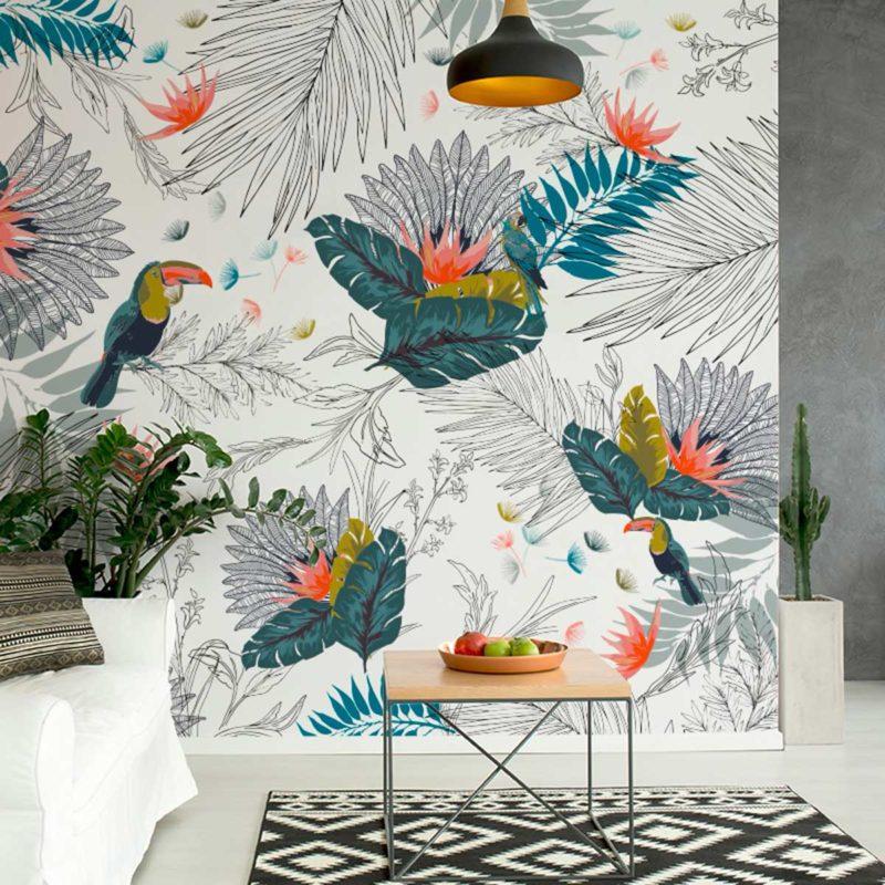 Papier peint jungle avec toucans colorés