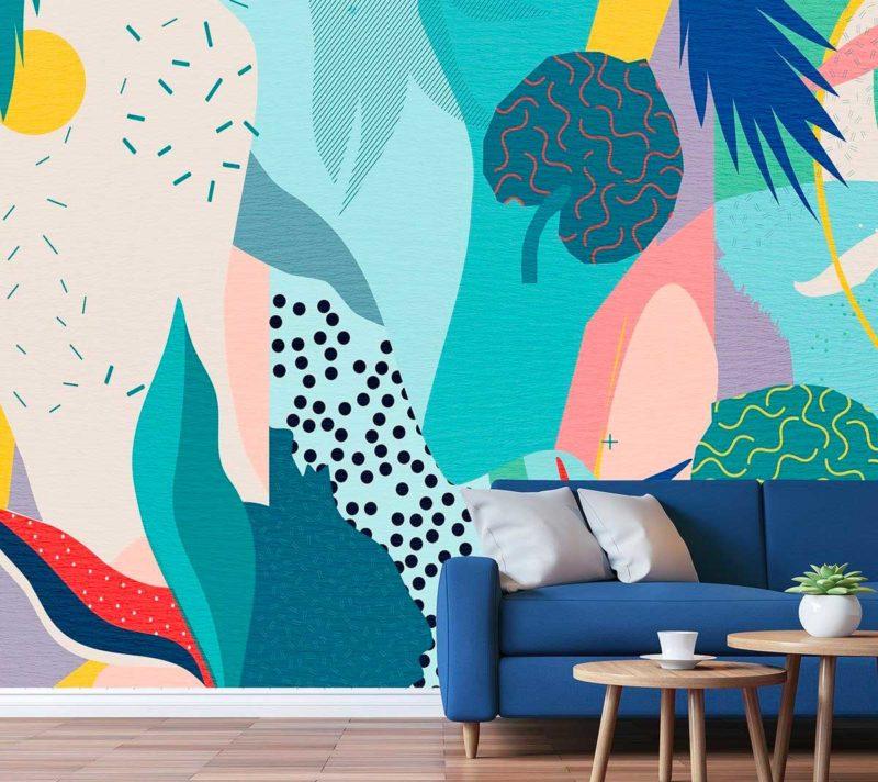 Papier peint jungle moderne aux coloris pastel