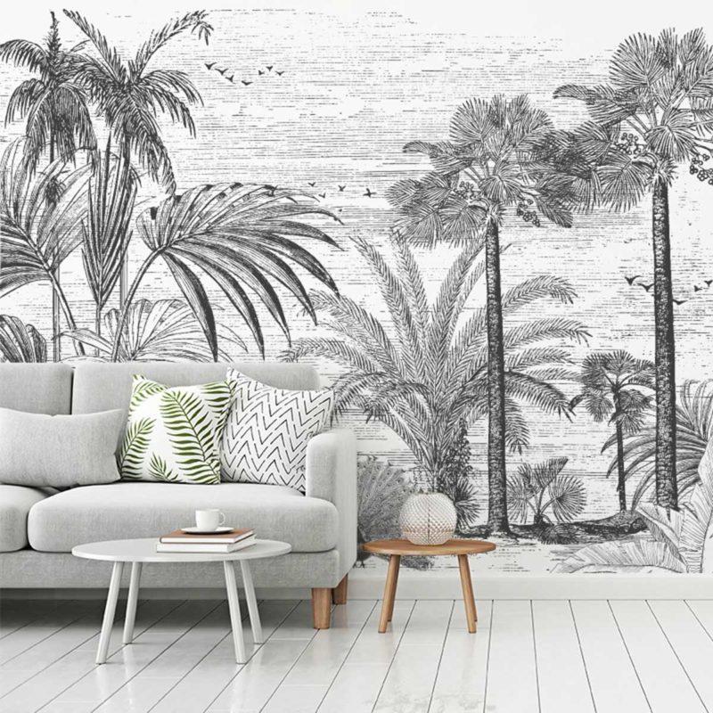 Salon avec papier peint jungle noir et blanc