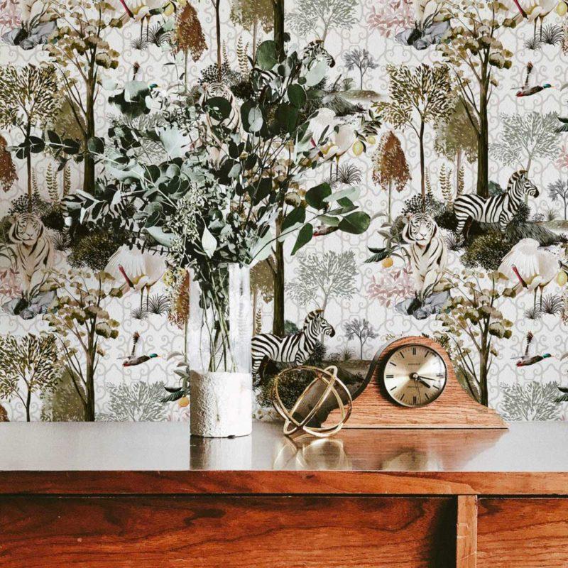 Papier peint original avec animaux et végétaux
