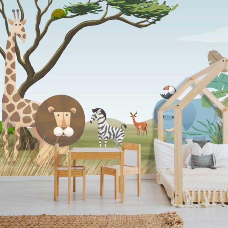 Papier peint savane pour chambre d'enfant