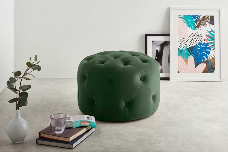 Pouf vert rond style Chesterfield