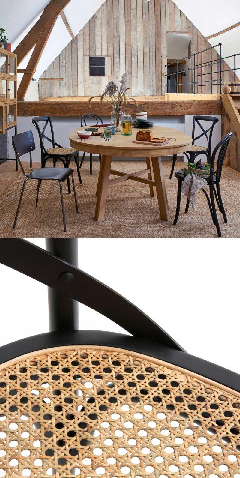 Salle à manger avec chaises en cannage