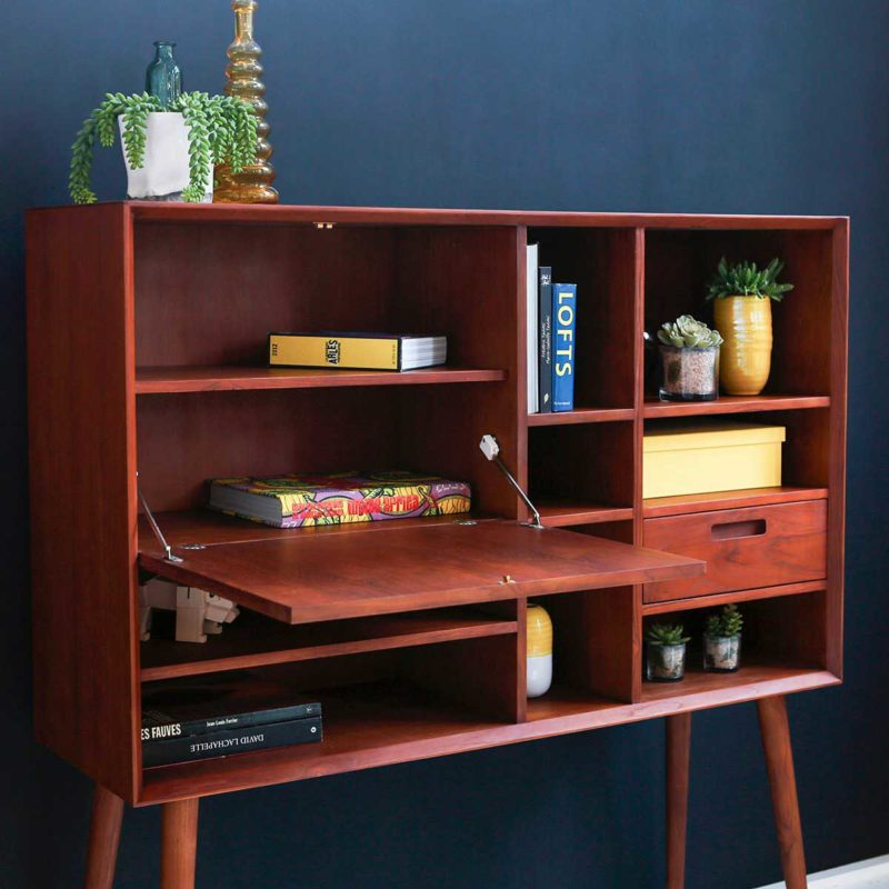 Secrétaire style vintage en bois foncé