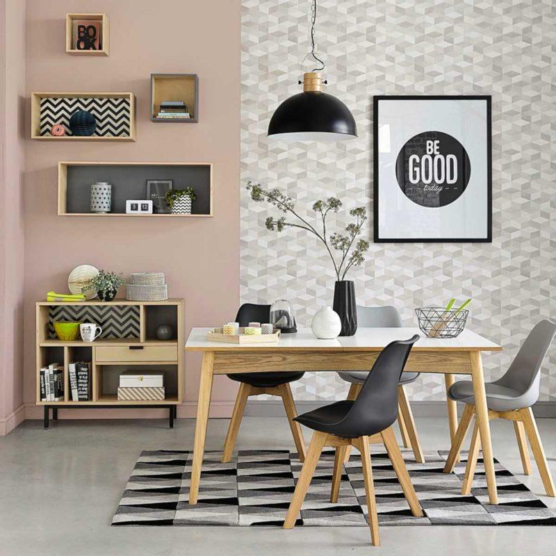 Table à diner avec plateau blanc et pieds bois
