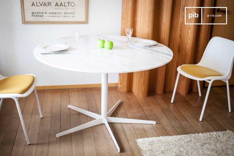 Table à diner ronde en marbre blanc