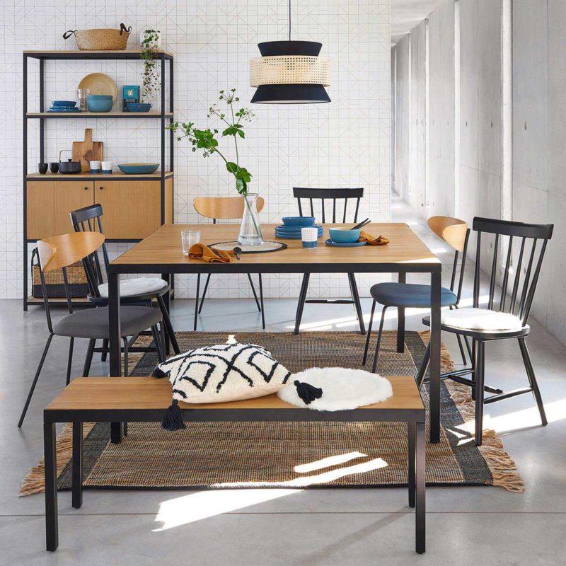 Table carrée structure métal et plateau bois