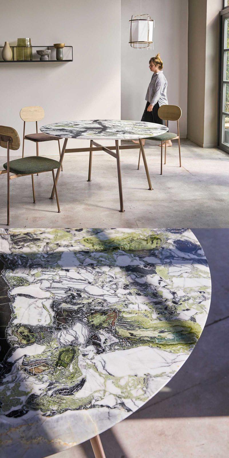 Table de salle à manger ronde en marbre