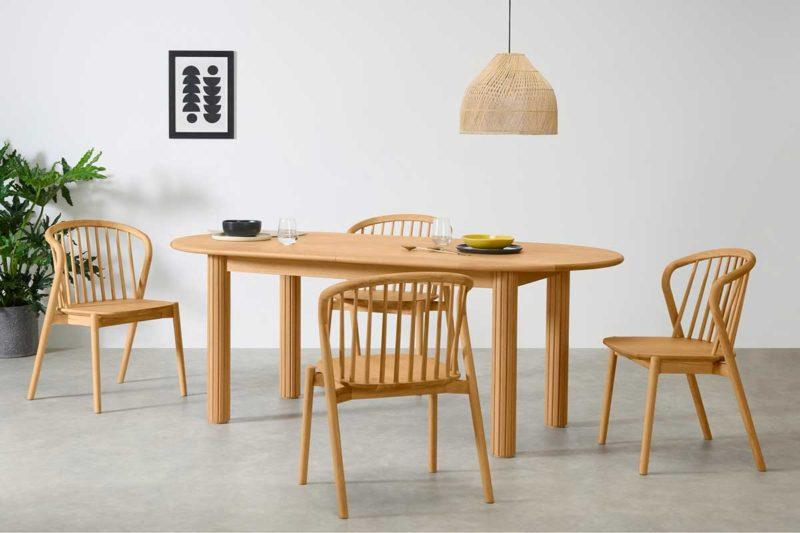 Table design extensible en chêne