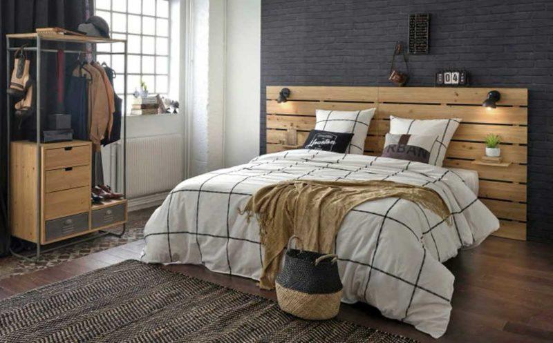Tête de lit avec appliques intégrées