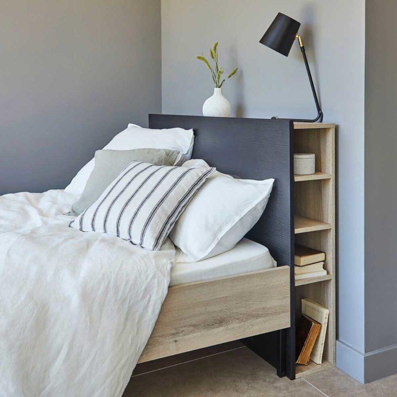 Tête de lit avec étagère pour sommier 140 cm