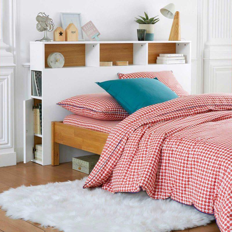 Tête de lit bibliothèque blanche pour sommier 160 cm