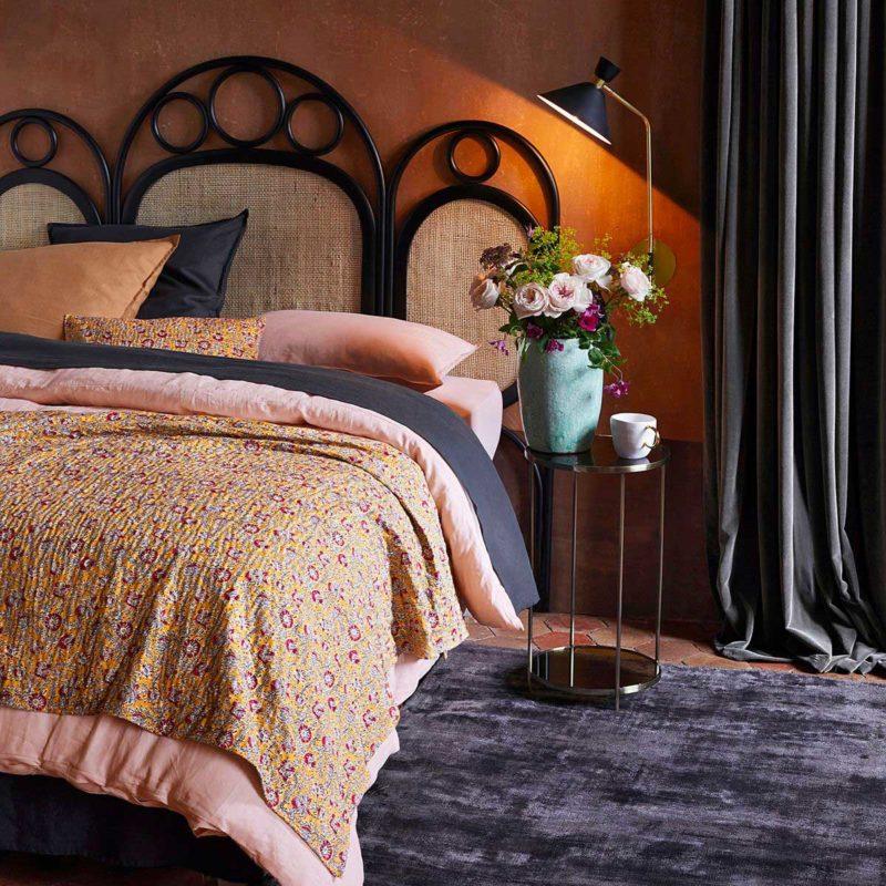 Tête de lit chêne noir et rotin 180 cm