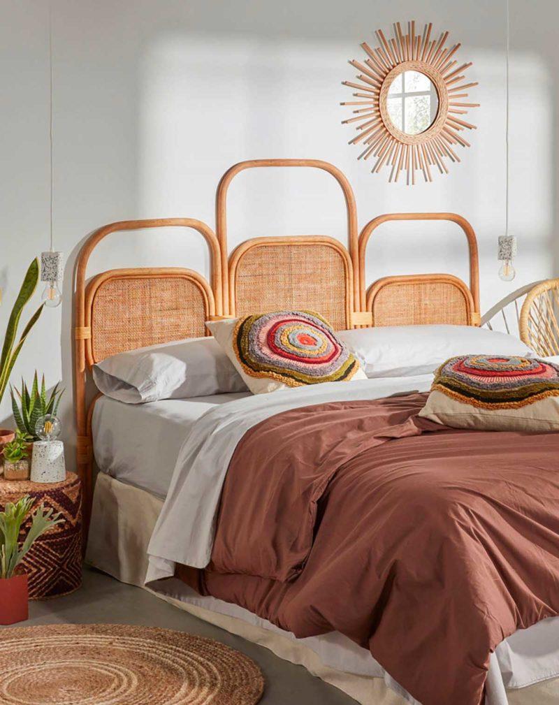 Tête de lit double en rotin