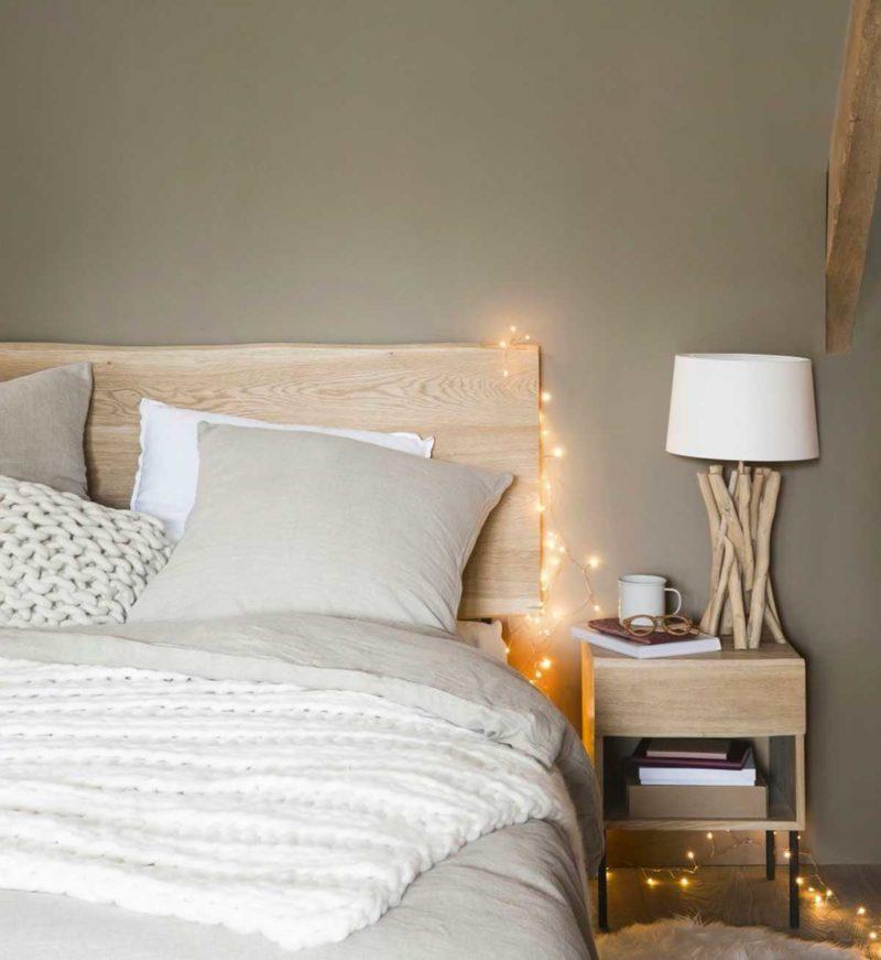 Tête de lit en bois naturel