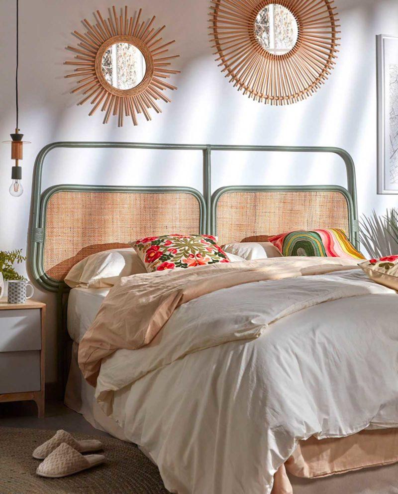Tête de lit originale rotin vert et naturel