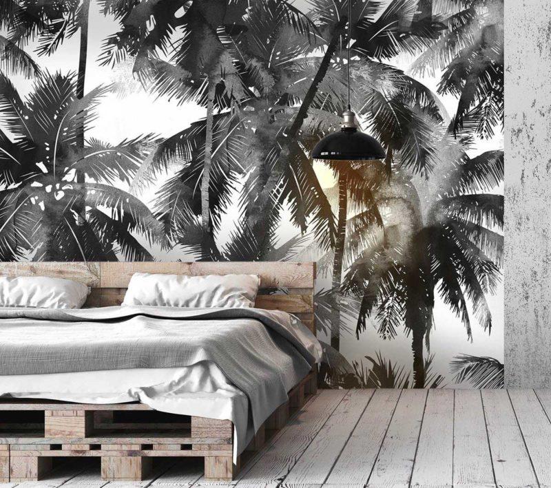 Tête de lit avec papier peint à cocotiers