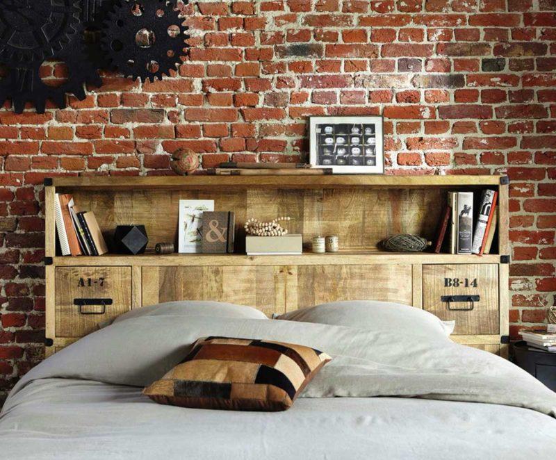 Tête de lit avec rangements style industriel