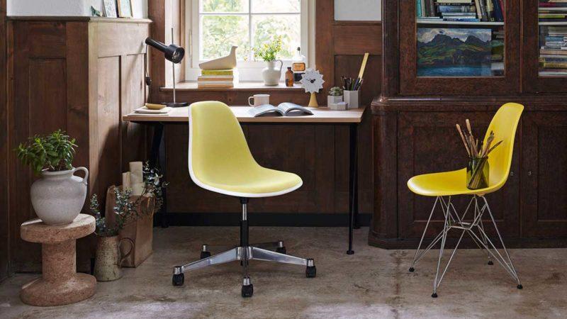 Bureau avec chaise Eames pivotante
