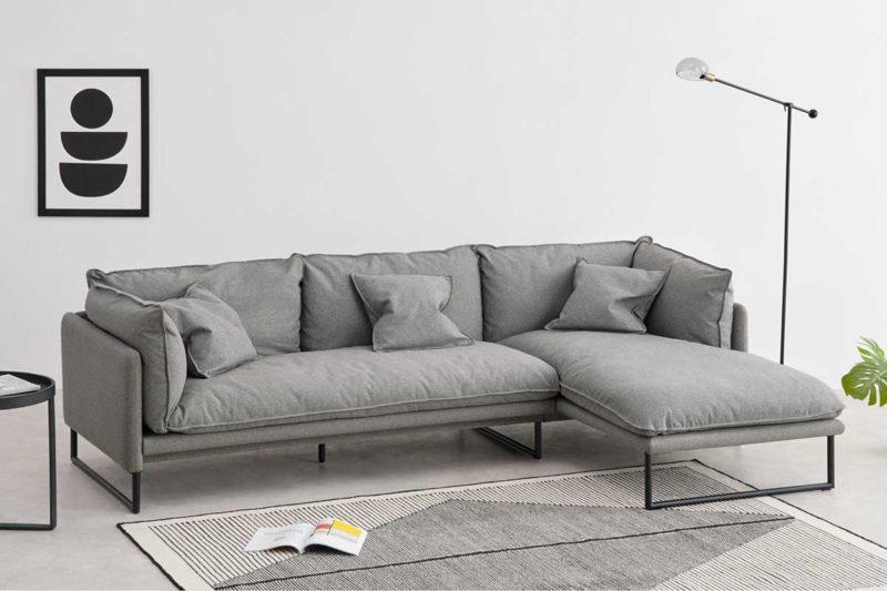 Canapé d'angle gris moderne et confortable