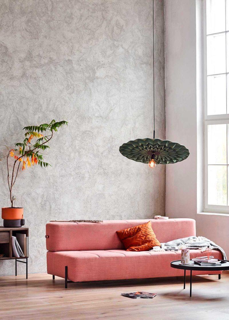 Canapé convertible design en tissu rose