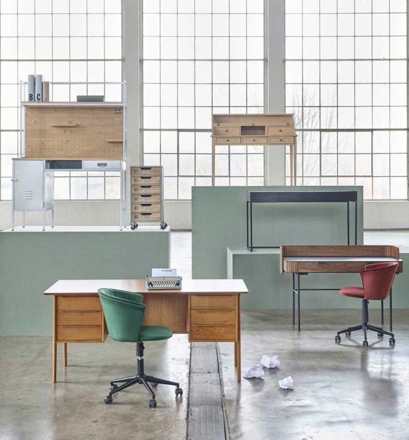 Chaise de bureau design en velours vert