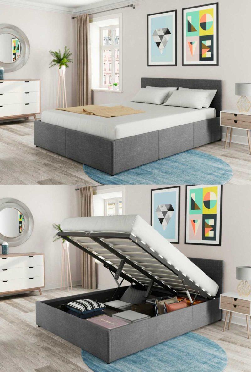Chambre à la déco néo-scandinave avec lit coffre