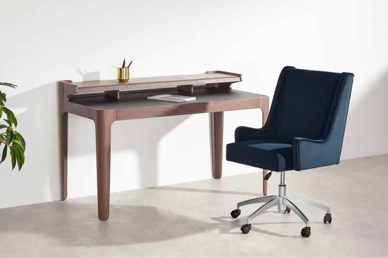 Fauteuil de bureau design confortable en velours bleu