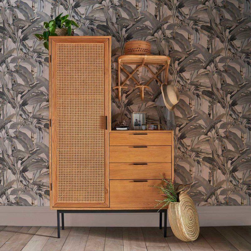 Meuble vestiaire d'entree avec penderie et tiroirs