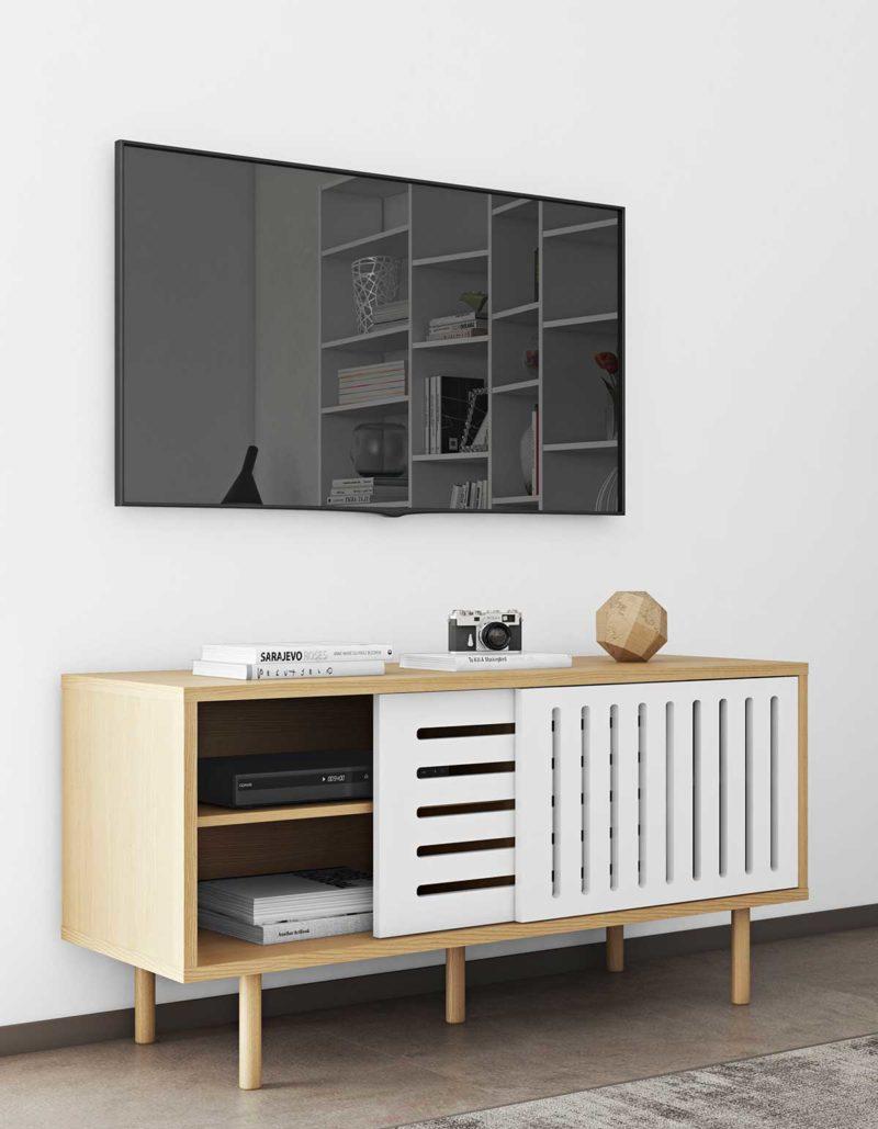 Buffet blanc et bois au design contemporain