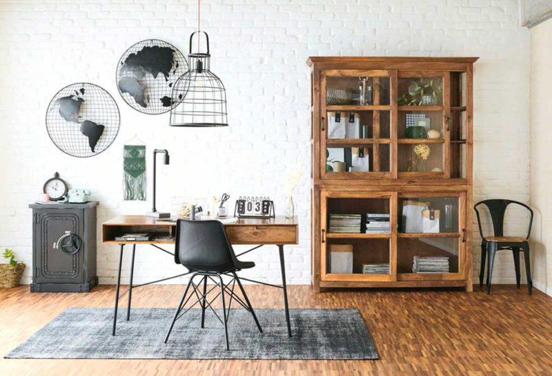 Bureau avec vitrine en manguier massif