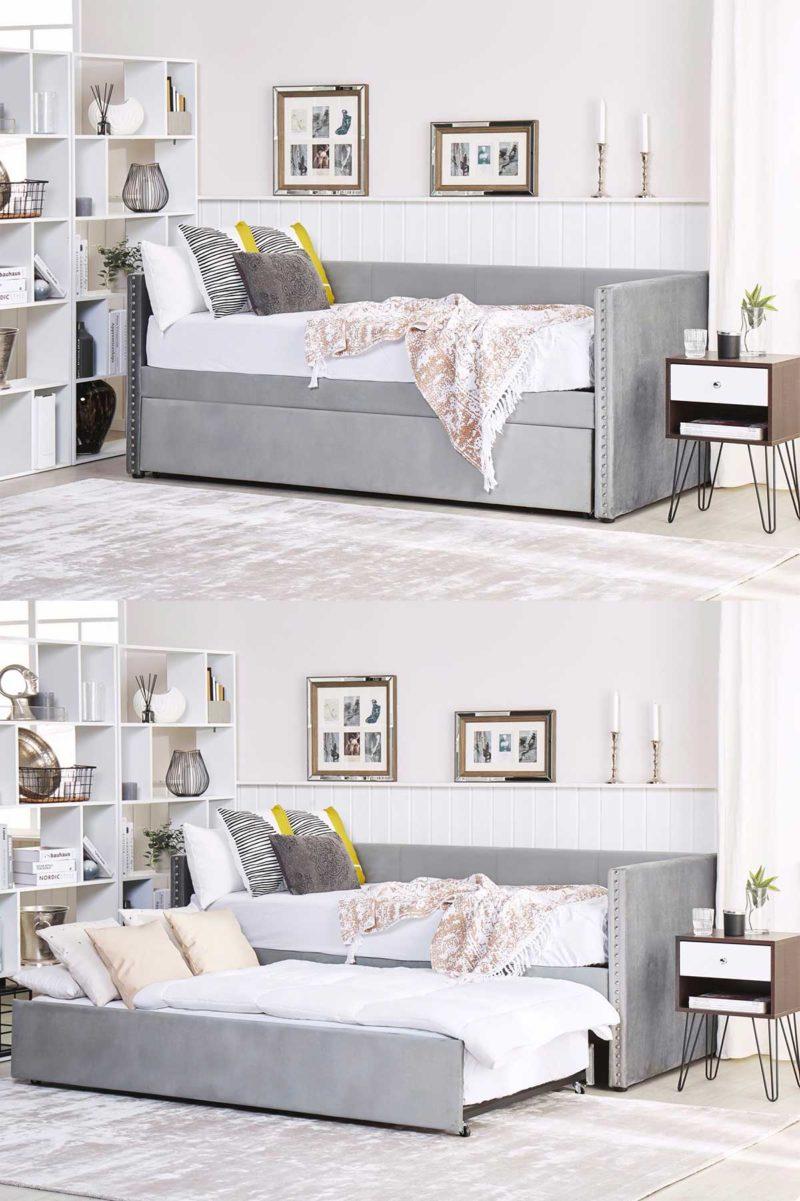 Canapé gris avec lit escamotable