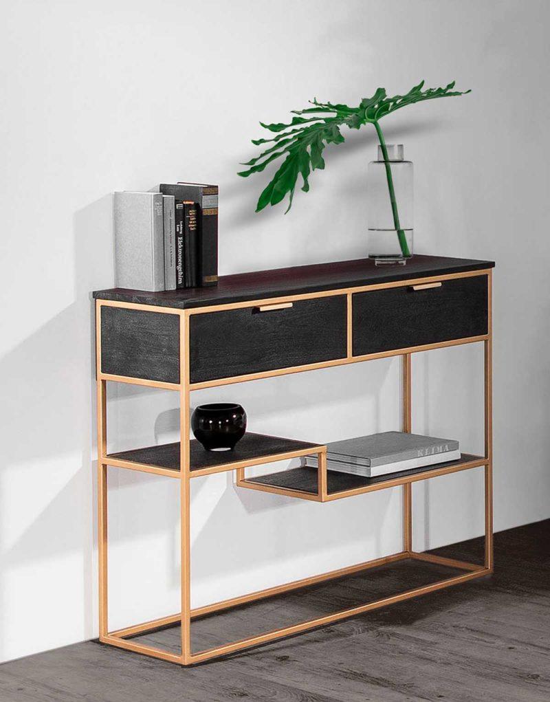 Console en bois massif et acier doré