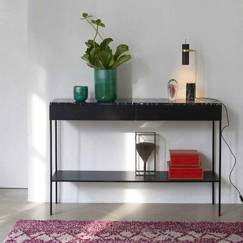 Console en métal avec plateau en marbre noir