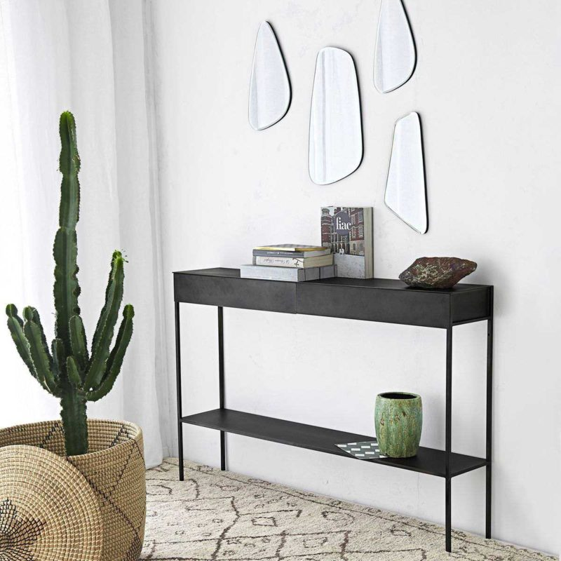Console en métal noir avec tiroirs