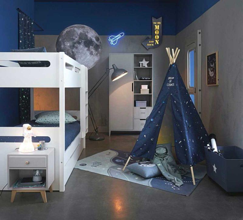 Déco sur le thème de l'espace dans une chambre d'enfant