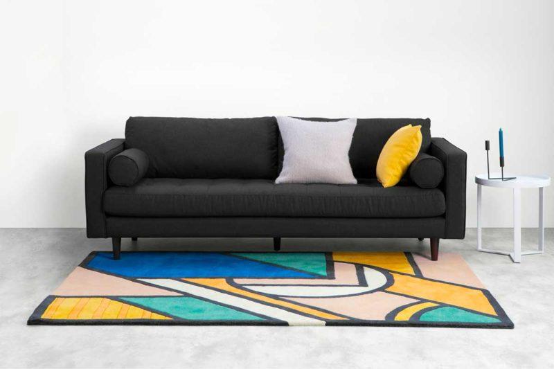 Grand tapis en laine pour salon à la déco moderne