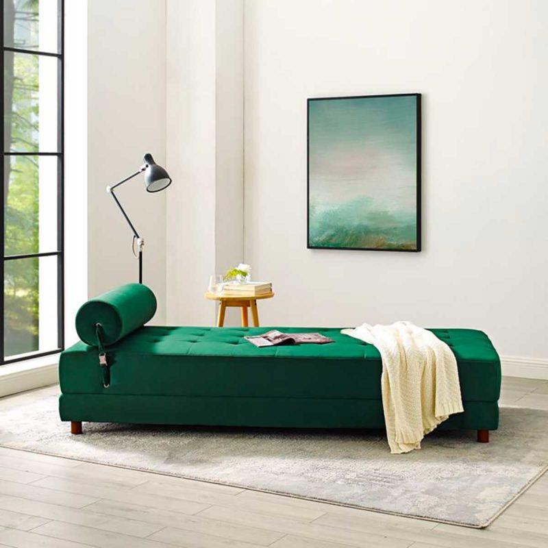 Méridienne convertible en velours vert