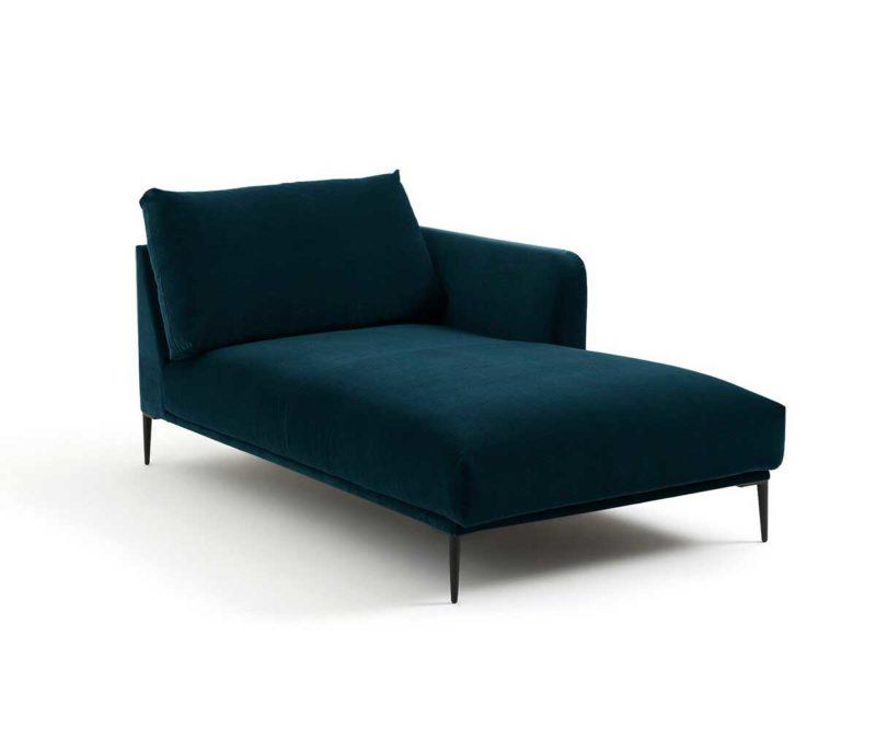 Méridienne style contemporain en velours bleu