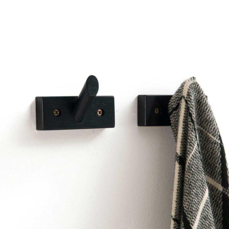 Patère design noire en bois