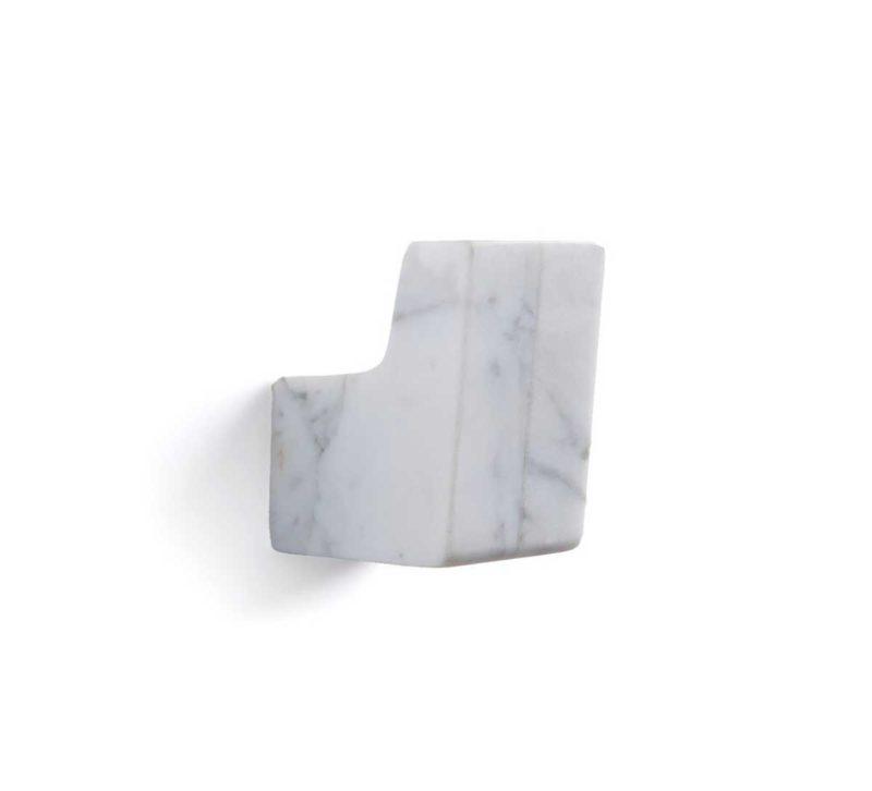 Patère murale design en marbre blanc