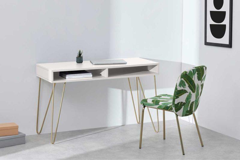 Petit bureau blanc avec pieds dorés