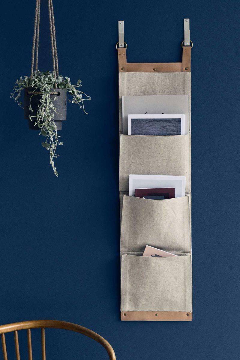 Porte-revues mural en tissu