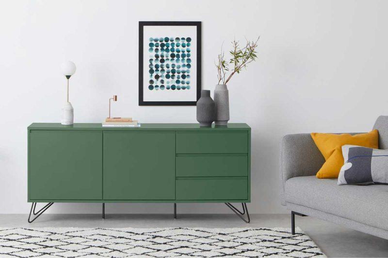 Salon design avec bahut vert