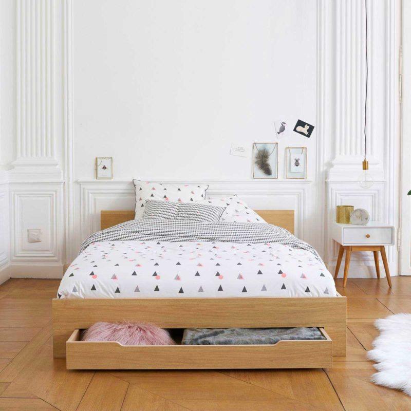 Table de chevet blanc et bois